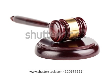 Brown wooden gavel with shadow isolated on white background