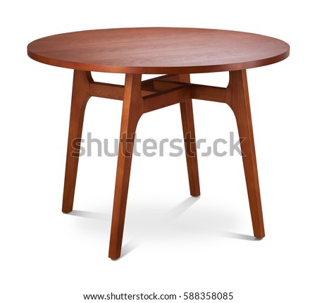 Brown wooden round dining table. Modern designer, dining table isolated on white background. Series of furniture. #588358085