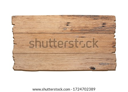 Brown wooden sign on a white background In the concept of the signpost and billboards with clipping path. Stock foto ©