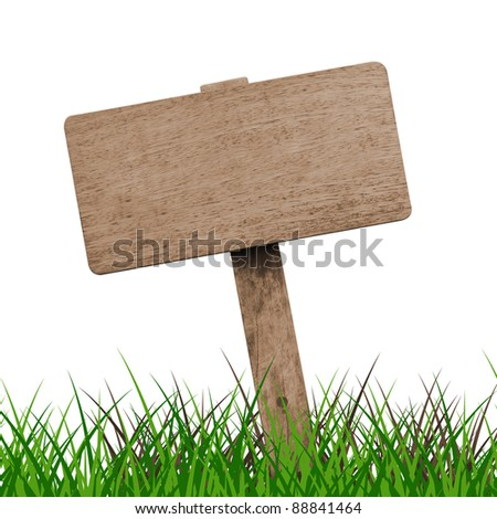 Brown wooden signboard with grass against white background