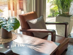 Brown wooden sofa retro style with grey pillow and wooden table with green palm leaf in vase near window glass. Leather armchair in living room.