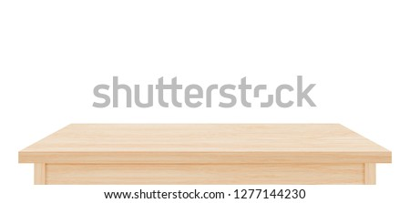 Brown wooden table top isolated on white background. Used for display or montage your products #1277144230