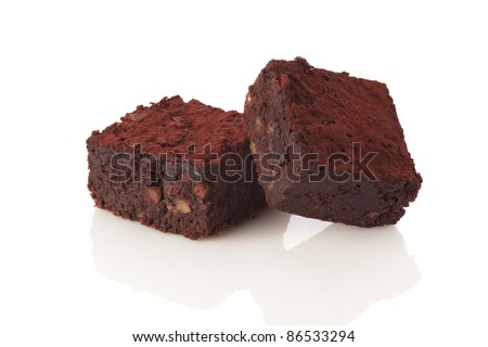 Brownie cake isolated on white background