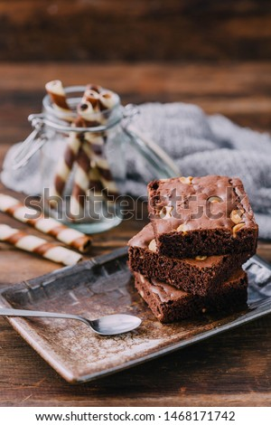 brownie on wooden table background #1468171742