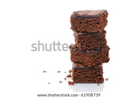 brownies on white background
