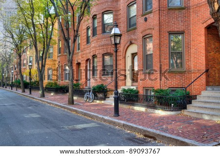 Brownstone apartment buildings, elegant street