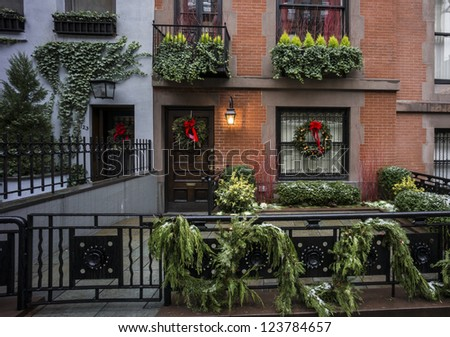 Brownstone apartment on upper East side of Manhattan at Christmas