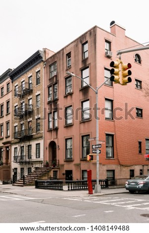 Brownstone facades & row houses  in an iconic neighborhood of Brooklyn Heights in New York City #1408149488