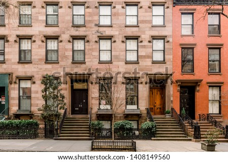 Brownstone facades & row houses  in an iconic neighborhood of Brooklyn Heights in New York City