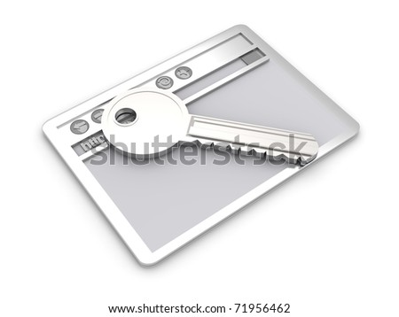 Browser window with a Key. Secure www connection. 3D rendered Illustration. Isolated on white.