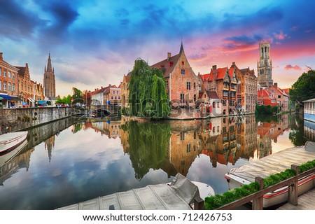 Bruges at dramatic sunset, Belgium #712426753