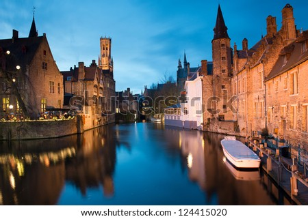 Bruges at night , Belgium.