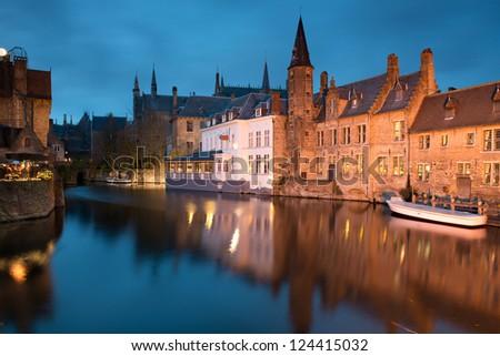 Bruges at night , Belgium.