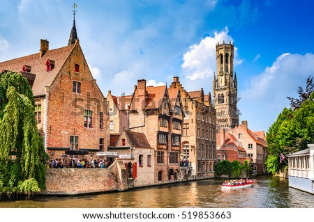 BRUGES, BELGIUM - 7 August 2014: Scenery with water canal in Bruges,