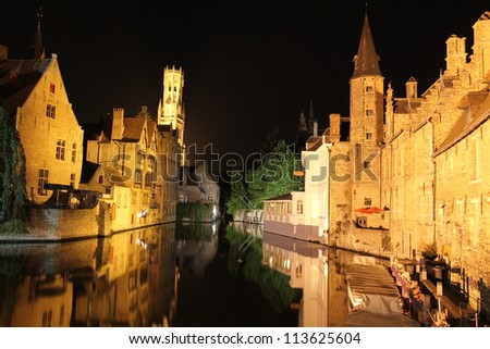 Bruges  - Belgium - Beautiful Castle Reflection At Night