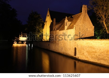 Bruges  - Belgium - Beautiful Reflection At Night