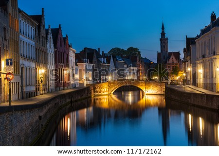 Bruges (Brugge) canal in the evening, Belgium