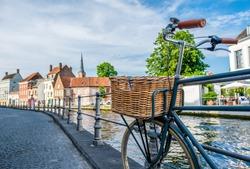 Bruges (Brugge) cityscape with bike, Flanders, Belgium