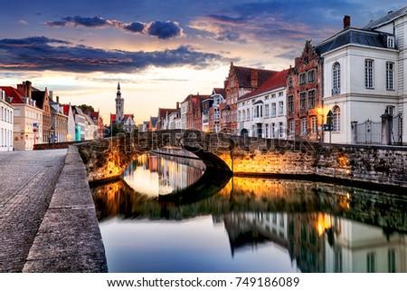 Bruges cityscape, Belgium #749186089