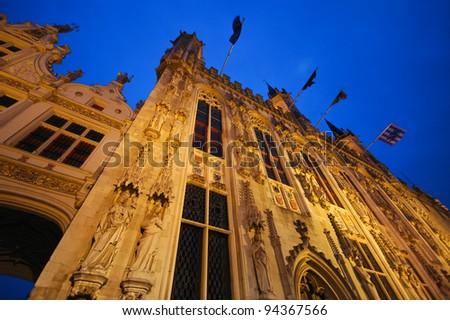 Bruges Market Square at night