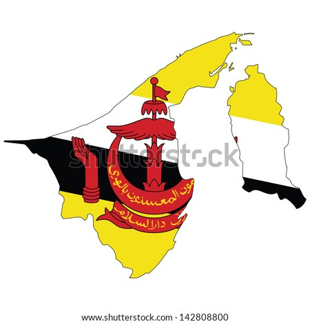 Brunei map with the flag inside.