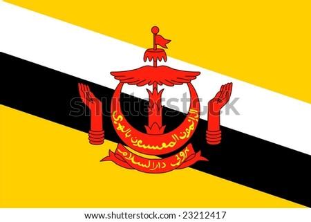 Brunei national flag. Illustration on white background