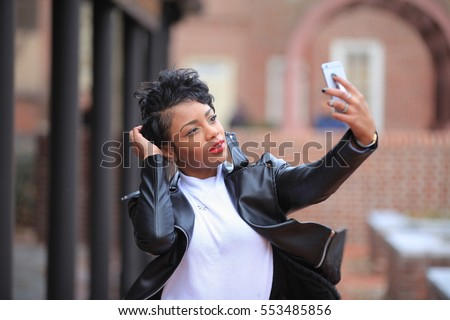 brunette african american woman ...