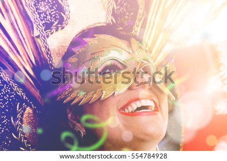 Brunette Brazilian wearing carnival costume #554784928