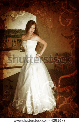 stock photo Brunette bride with long hair in sleeveless wedding dress on a