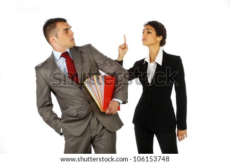 Brunette business woman angry at her colleague