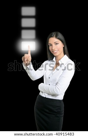 Brunette businesswoman touching virtual pad transparent key with finger [Photo Illustration] - stock photo