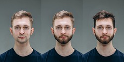 Brunette. Collage of man before and after visiting barbershop, client's delighted with different haircut, mustache, beard. concept of bodycare, male beauty, comparison. Shaving, hairstyling, coloring.
