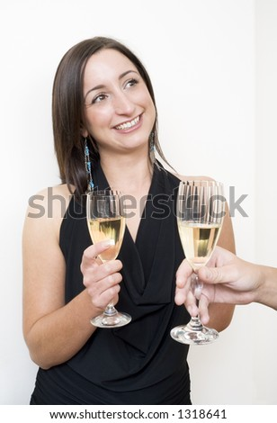 Brunette drinking champagne with a stranger