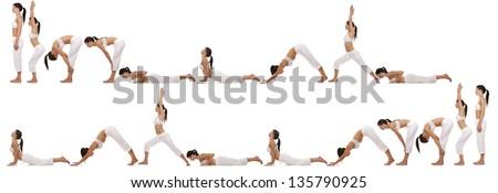 brunette exercising yoga sequence on white background #135790925