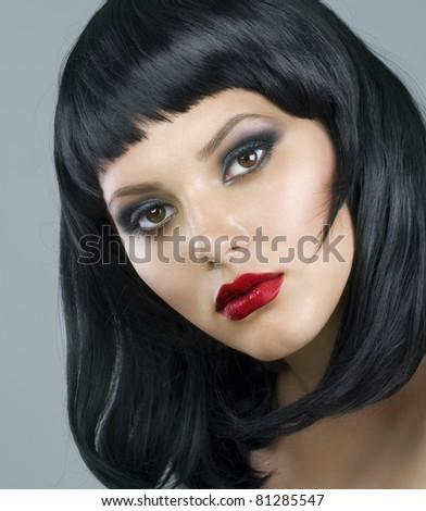 Brunette Extreme makeup.Haircut