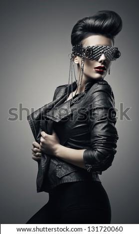 brunette girl in creative sunglasses
