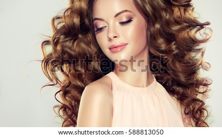 Royalty free Beautiful girl with long wavy hair