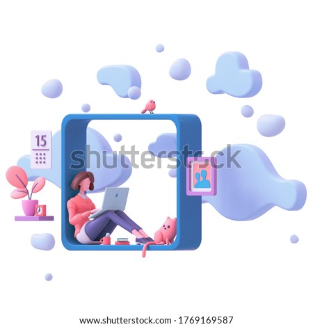 Brunette girl working on laptop sitting on window sill at home with view of sky, blue clouds. Modern teenage room with books cat bird, coral color plants. Floating 3d render isolated on white backdrop
