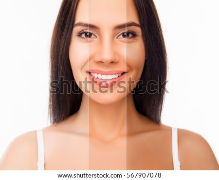 Brunette happy woman face with different color skin. #567907078