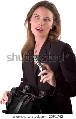 Brunette is about to call someone by mobile phone