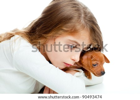 brunette kid girl with mini pinscher pet mascot dog on white background