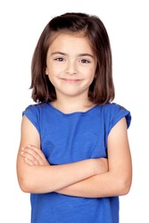 Brunette little girl isolated on a over white background
