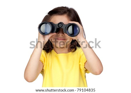 Brunette little girl looking through binoculars isolated on a over white background
