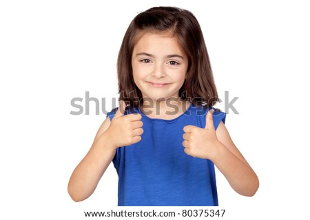 Brunette little girl saying Ok isolated on a over white background