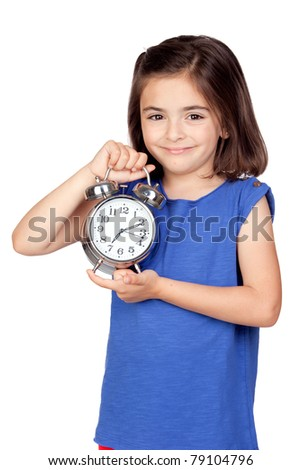 Brunette little girl with a silvered alarm-clock a isolated on a over white background