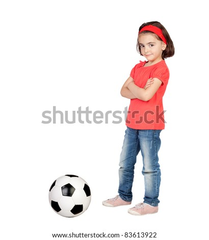 Brunette little girl with a soccer ball isolated on a over white background