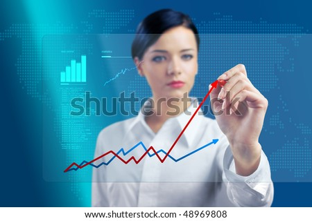 Brunette outlines chart in virtual space (outstanding business people in interiors / interfaces series)