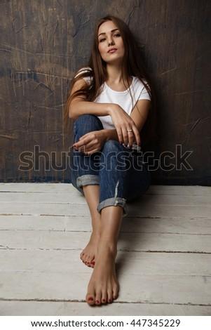 brunette posing hotel room #447345229