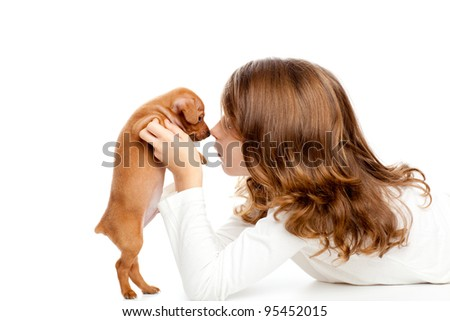 Brunette profile girl with dog puppy mascot mini pinscher on white background
