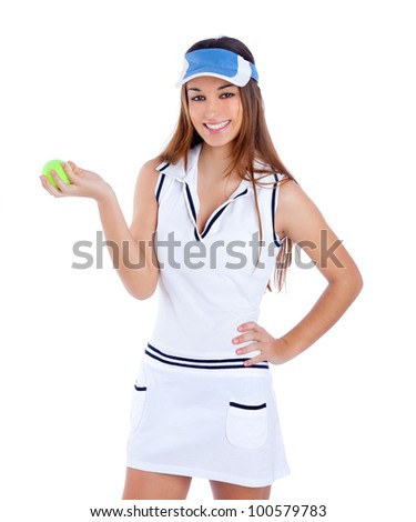 brunette tennis girl with white dress and sun visor cap with green ball